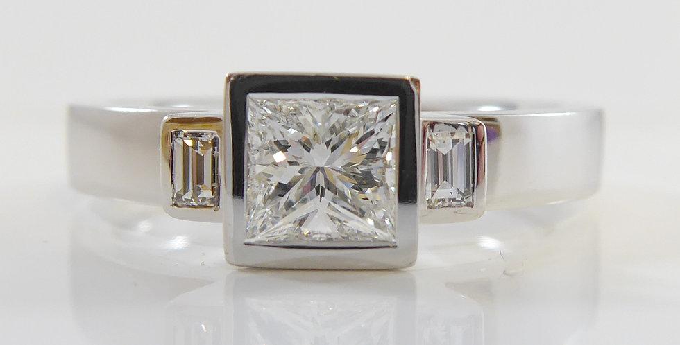Designer Princess Cut and Baguette Cut Diamond Ring, Platinum Band