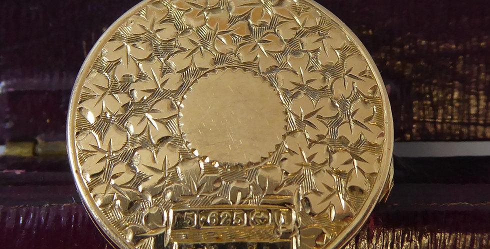 Antique Edwardian Locket, 15ct Gold, Hallmarked 1908, Floral Engraving