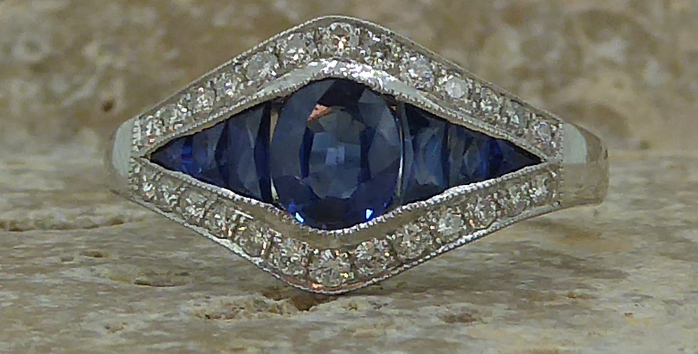 Art Deco Style Blue Sapphire Diamond Ring, Calibre Cut Sapphires, White Gold