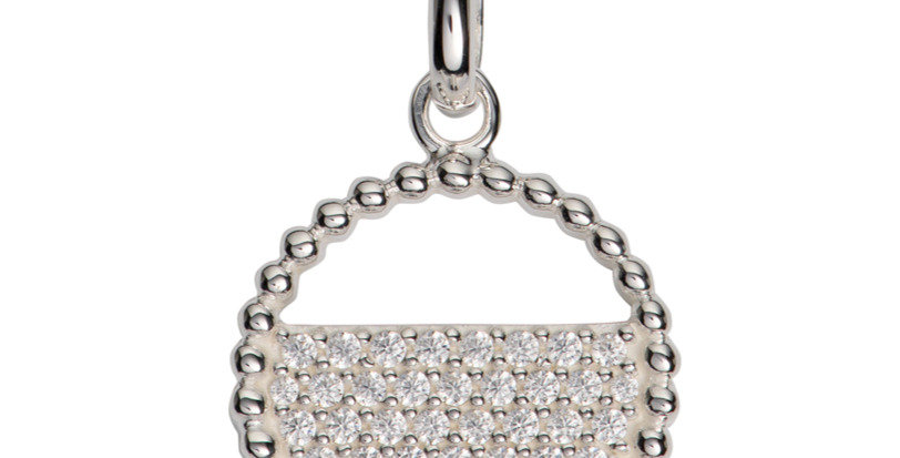 Modern Silver Pendant with Cubic Zirconia Highlights Complete with Silver Chain