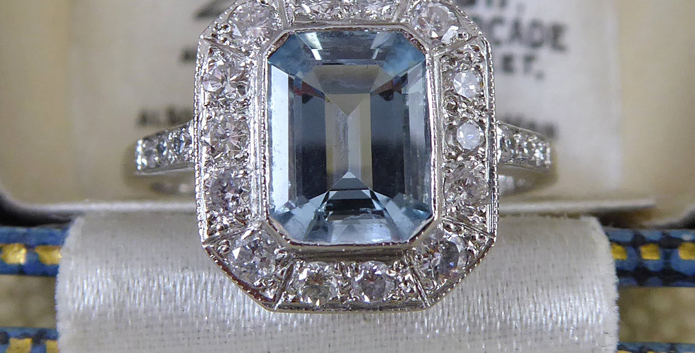 Aquamarine and Diamond Cluster Ring front view