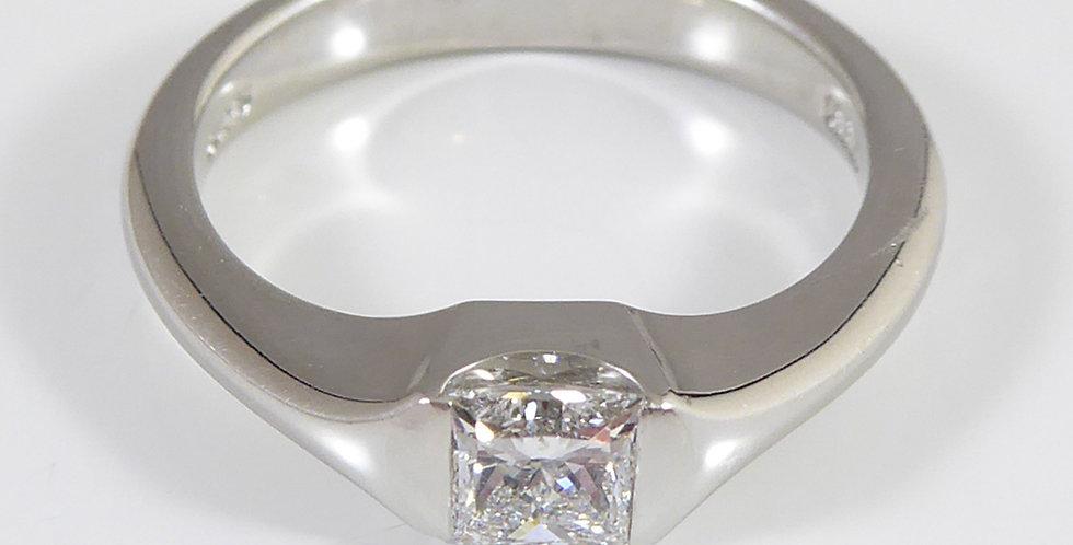 Contemporary Princess Cut Diamond Engagement Ring in Platinum