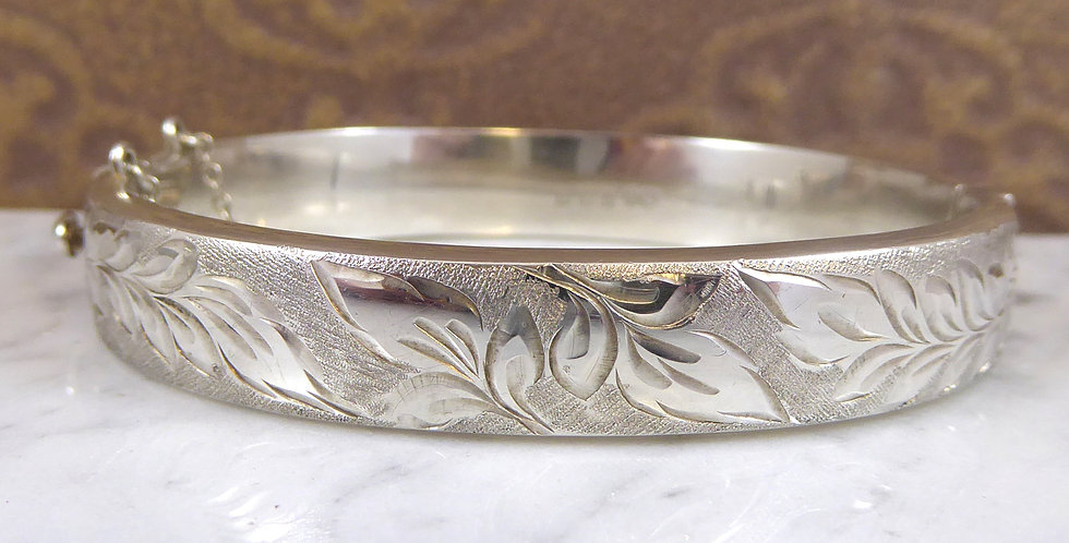 Vintage Engraved Bangle, Silver, Hallmarked Birmingham 1965