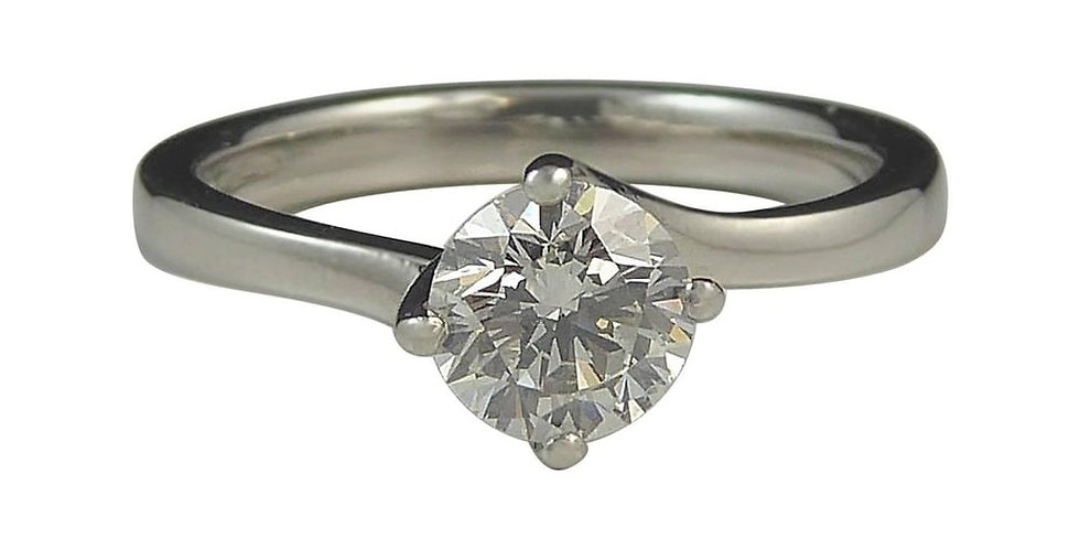 Pre-owned Solitaire Diamond Engagement Ring 0.50ct, Four Claw Set, Platinum Band