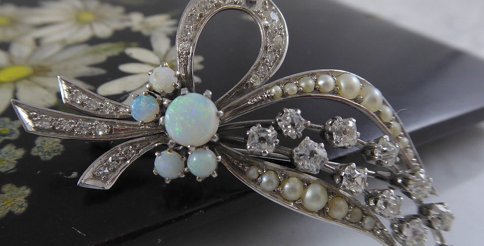 French Cut Diamond Brooch with Opals and Pearls