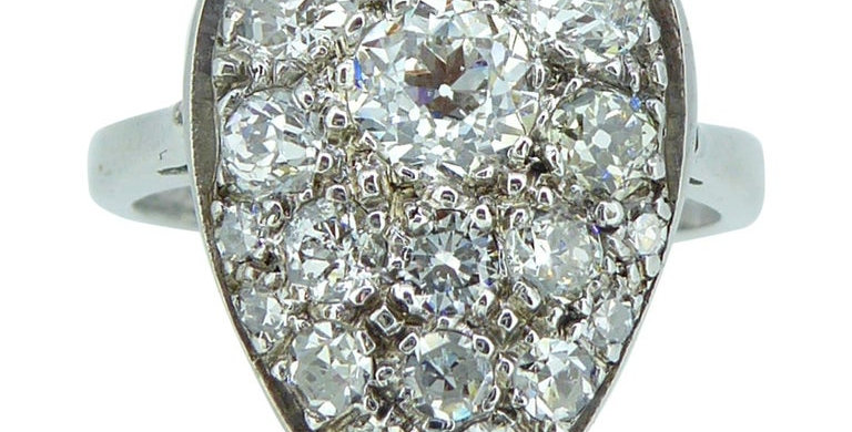 Pre-owned Pear Shaped Diamond Cluster Ring, White Gold, 1.53 Carat