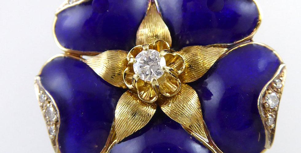 Vintage 1970s Blue Enamel and Diamonds, Gold Chain