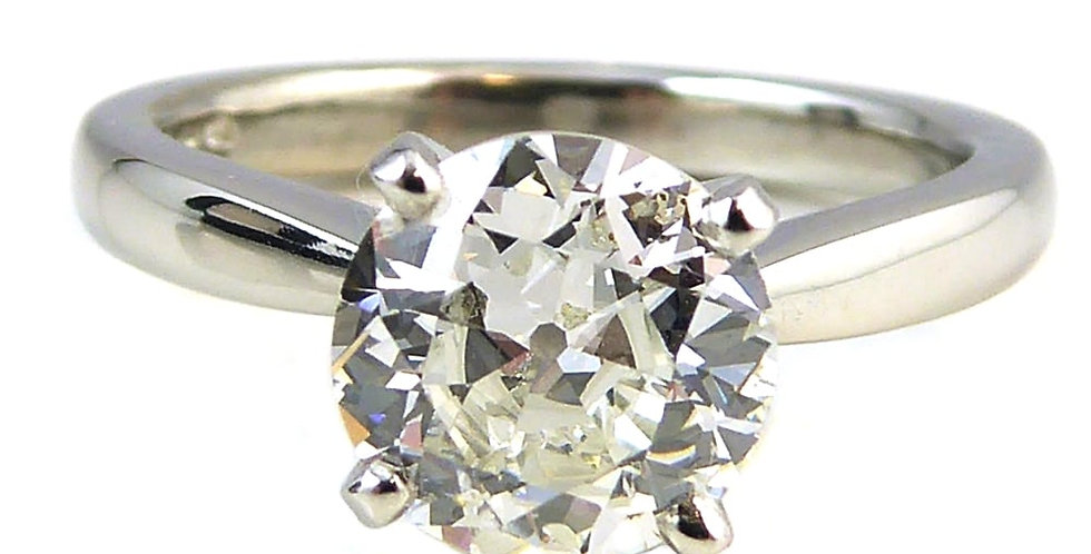 Old European Cut Diamond Solitaire Ring, 1.50ct, in Tiffany Style Platinum Band