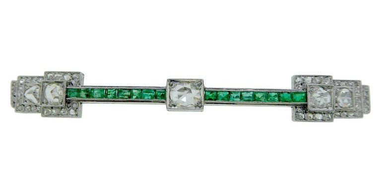 1920's Art Deco Emerald and Diamond Brooch, Platinum