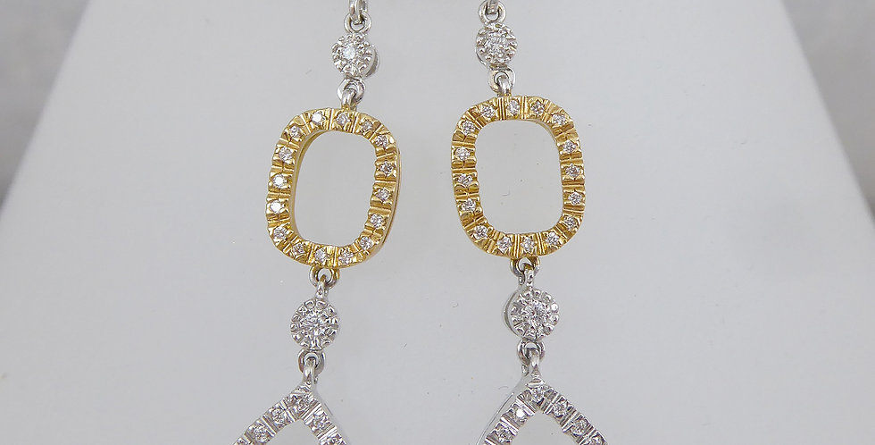 Modern diamond drop earrings in gold
