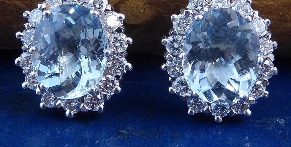 Vintage Aquamarine & Diamond Cluster Earrings, 18ct Gold, Hallmarked London 1984