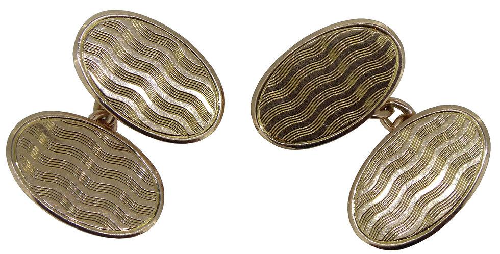 Art Deco Vintage Gold Cufflinks Hallmarked Birmingham 1921, Engraved Pattern
