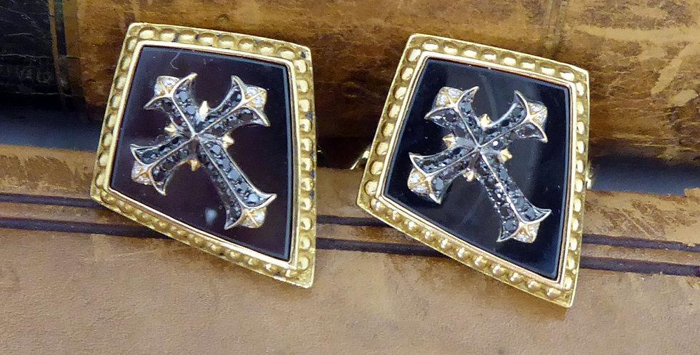 Stephen Webster Contemporary Diamond Cufflinks, Gothic Style, 18 Carat Gold