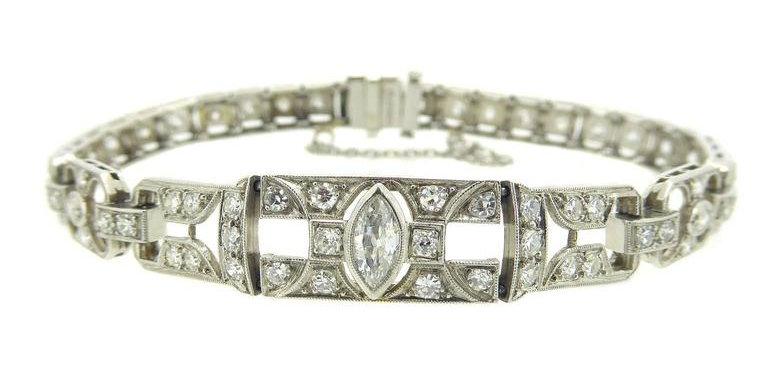 Vintage 1.49 Carat Diamonds Platinum Bracelet Circa 1940-1950