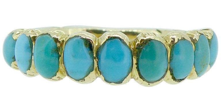 Antique Victorian Turquoise Wedding Ring, Engraved Shoulders, 15 Carat Gold