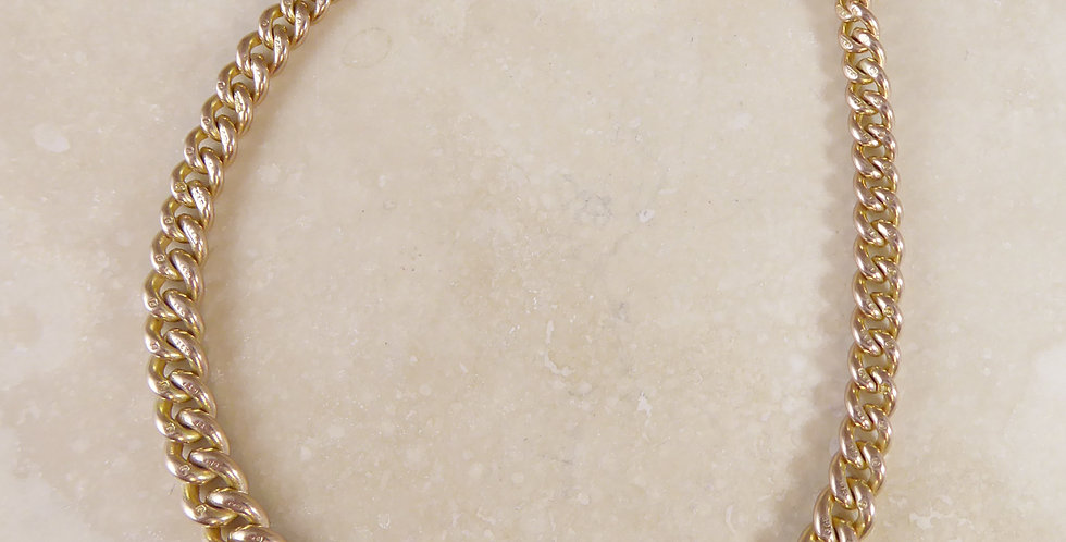 Albert Watch Chain Bracelet, Rose Gold Graduated Curb Links