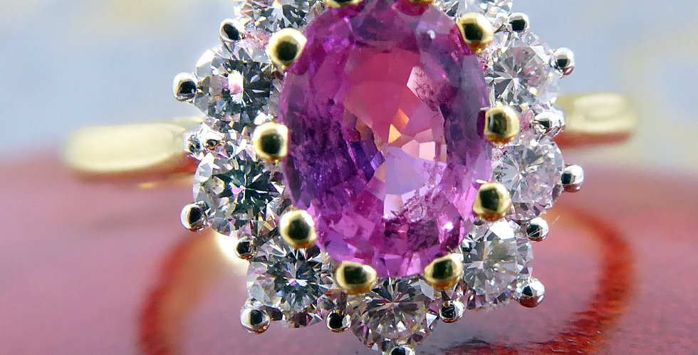 Vintage pink sapphire and diamond ring, cluster design, front view