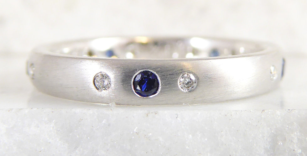 White Gold, Sapphire and Diamond Wedding Band Front View