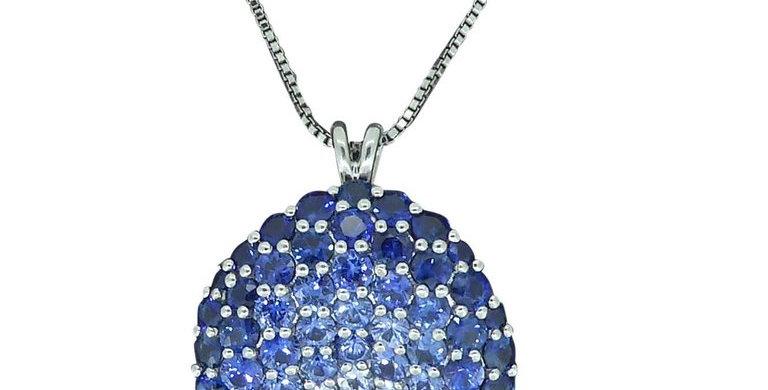 Vintage Blue Sapphire, White Sapphire & Diamond Pendant