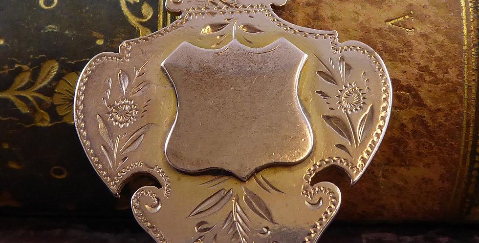 Antique Rose Gold Albert Pendant Shield, Hallmarked 1894
