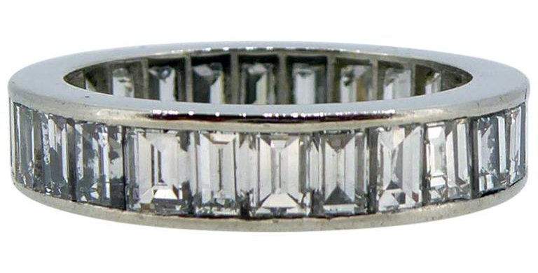 4.20 Carat Baguette Cut Diamond Full Eternity Ring, F/G Colour, Platinum Setting