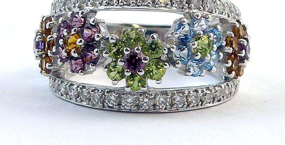 Diamond & Multi Stone Ring, Peridot, Topaz, Citrine, Amethyst, Pre-owned