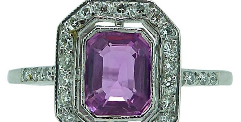 Vintage 1.05 Carat Pink Sapphire and Diamond Cluster Ring, 18 Carat White Gold