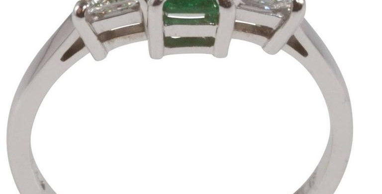 Emerald Diamond Three Stone Engagement Ring, 18 Carat White Gold, Pre-Owned