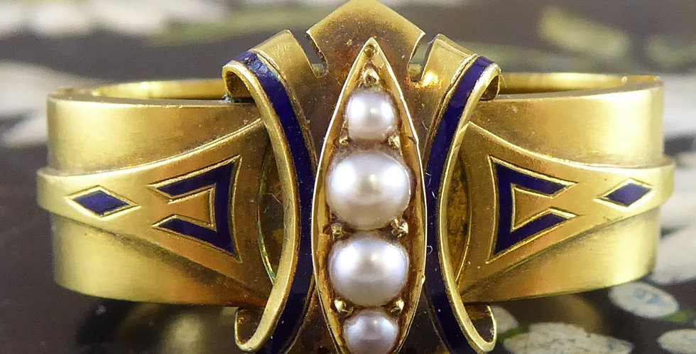 Victorian scarf ring with pearls and blue enamel