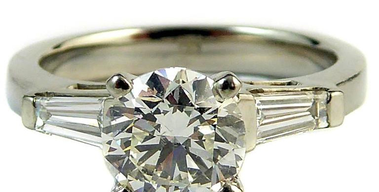 Vintage Diamond Engagement Ring, Art Deco Style, Certified Diamond, 1.01 Carat