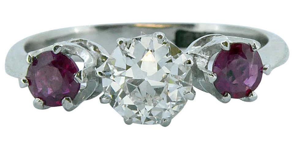 Mid-20th Century Ruby Diamond Three-Stone Engagement Ring, Marked 18ct