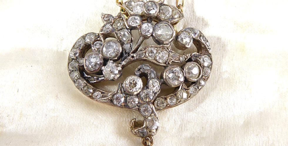 Victorian 2.70 Carat Diamond and Emerald Pendant on Figaro Link Chain