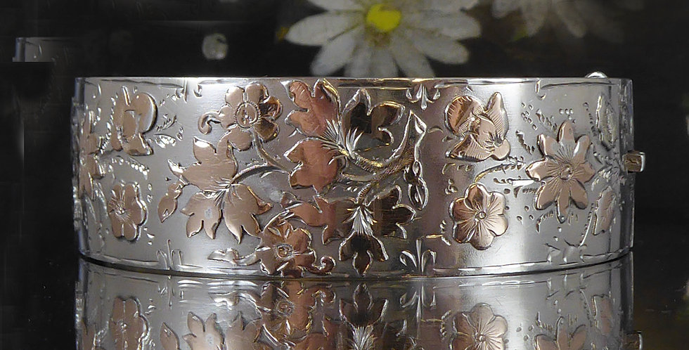 Victorian Silver Bangle with Rose Gold Flower Decoration