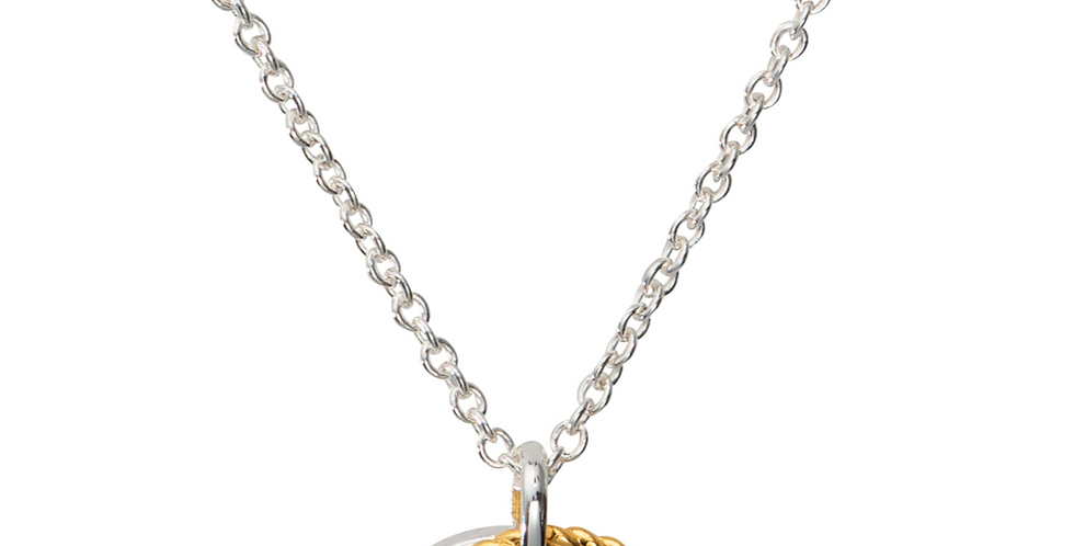 Modern Silver and Gold Colour Double Drop Pendant on Silver Chain