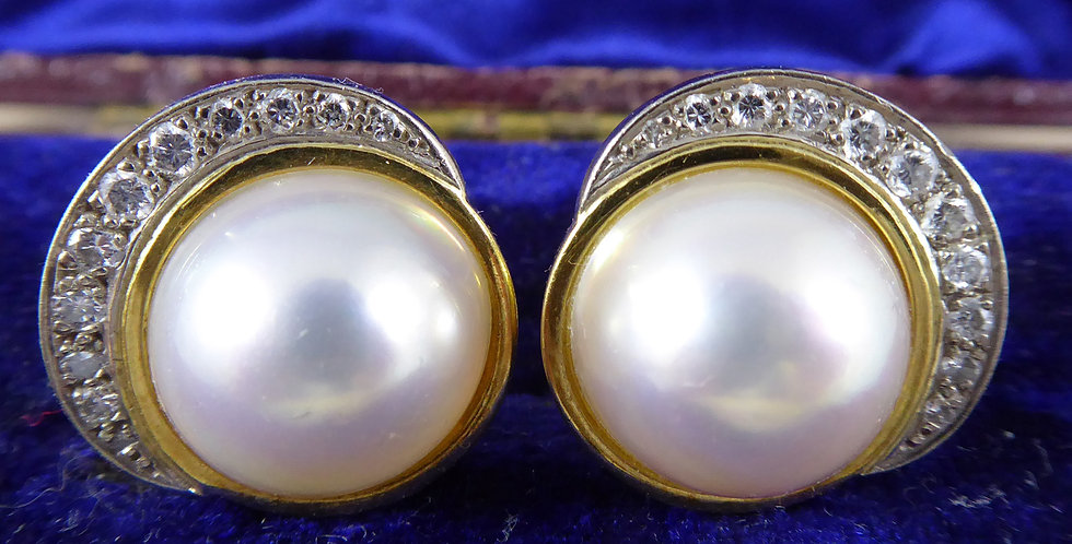 Vintage Mabe Pearl and Diamond Earrings, 18ct Yellow Gold, for pierced ears
