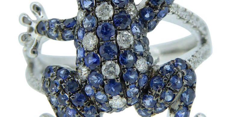 Blue Sapphire and Diamond Novelty Frog Ring