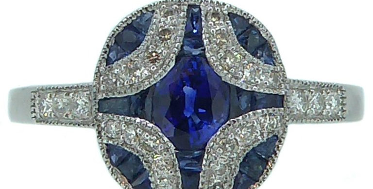 Modern Art Deco Style Sapphire and Diamond Ring