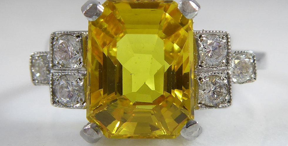 Art Deco Style 2.87 Carat Yellow Sapphire and Diamond Ring, Contemporary Design
