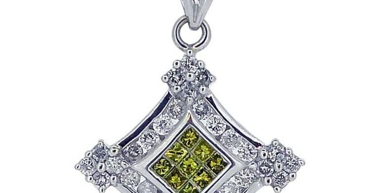 Modern 1.57 Carat Yellow and White Diamond, Pendant on  White Goldt,