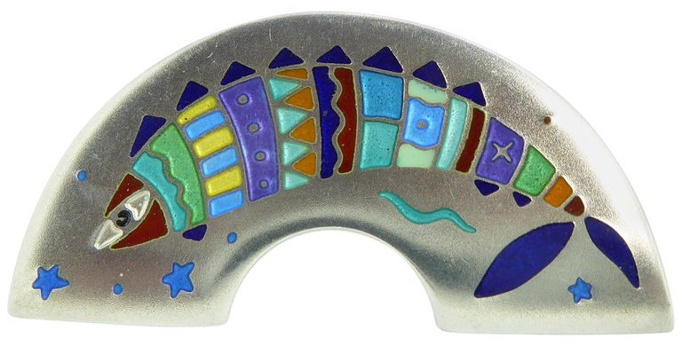 Vintage Silver and Enamel Fish Brooch, by Jane Moore, London, 1994