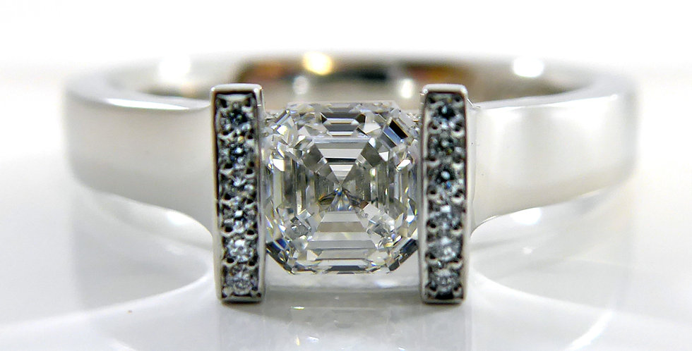 Unusual Diamond Solitaire Ring with Diamond Accents, Platinum Band