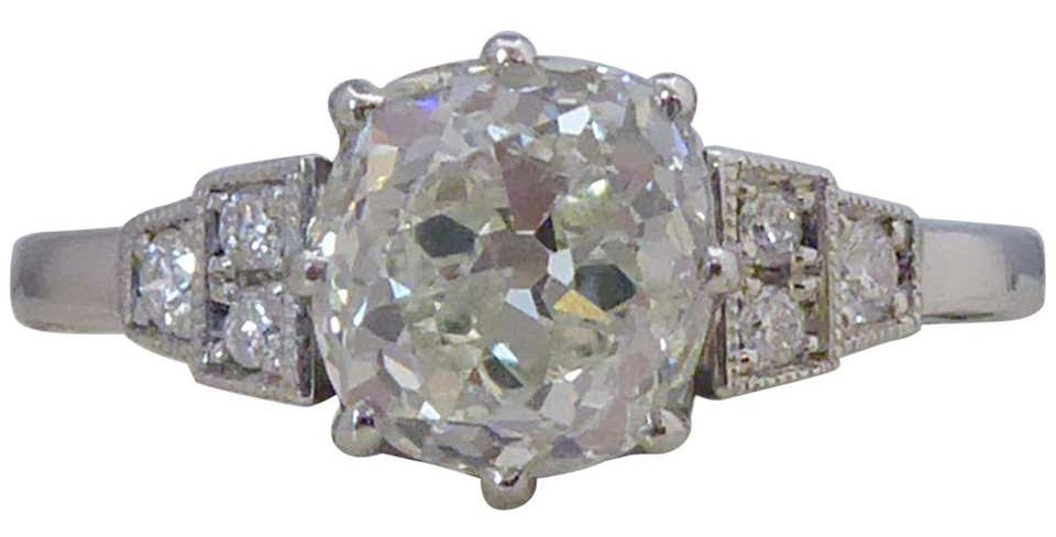 1.70 Carat Old European Cut Diamond Solitaire Ring in Art Deco Style Setting