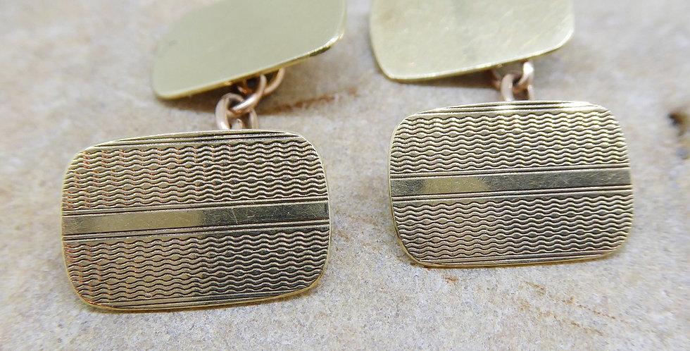 Vintage Gold Cufflinks, Engraved, 9ct Yellow Gold, Hallmarked Birmingham 1963