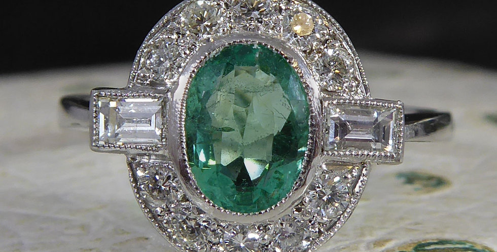 Contemporary Art Deco Style Ring, Emerald and Diamond Cluster, Platinum Band
