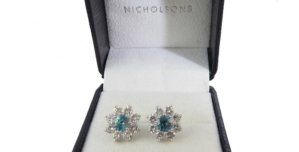 Late 20th Century Blue Zircon and Diamond Earrings