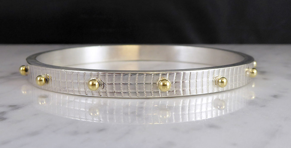 Vintage Silver Designer Style Bangle with Gold Bead Decoration