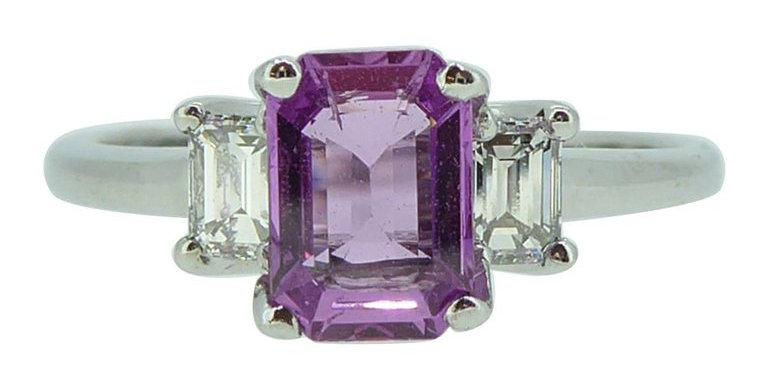 Emerald Cut Pink Sapphire & Diamond Engagement Ring