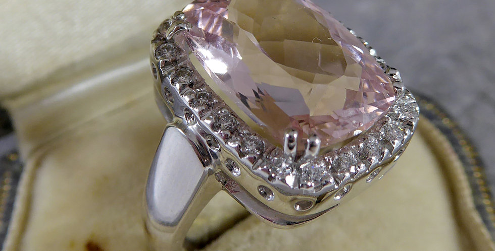 Pre-owned Morganite and Diamond Cluster Ring, 18ct White Gold