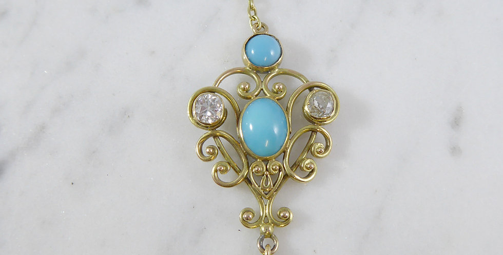 Art Nouveau Turquoise and 0.50 Carat Diamond Necklace, Yellow Gold