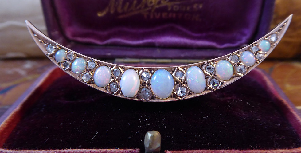 Victorian Opal and Diamond Crescent Brooch